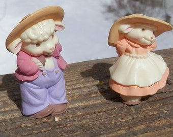Vintage Hallmark Easter Spring Girl & Boy Lamb Merry Miniatures - 1980's