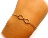 Infinity Bracelet, Gold Double Chain, Love, Friendship, Bridal Wedding Jewelry, Bridesmaid, Anniversary, Handmade, Valentines Day Gift Idea