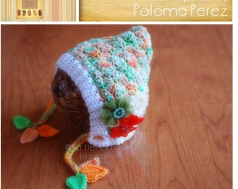 INSTANT DOWNLOAD - Crochet Shelly Pixie Bonnet Pattern - Baby Shelly pattern - Crochet pattern