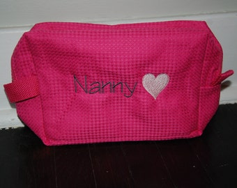 Personalized, Embroidered Cosmetic Bag Hearts