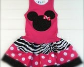 Custom Boutique Hot Pink Mouse Dress Girls dresses Baby Dress Birthday  Fun Wear Clothing Dress Available in  3-6 months through 8