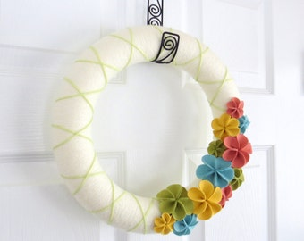 Spring Yarn Wreath. Yellow, Green, Pink, Blue. Pastels. Chartreuse, Ochre, Coral and Ocean. Wreath Felt Flowers for Spring Easter Wreath.