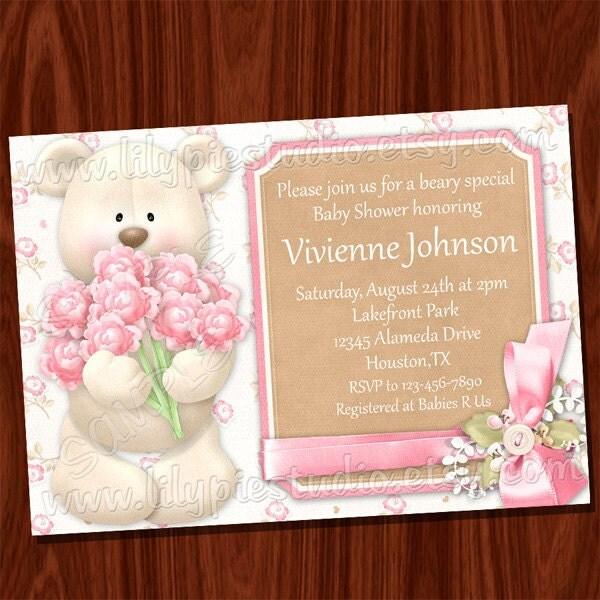 Teddy Bear Baby Shower Invitation PRINTABLE Digital File