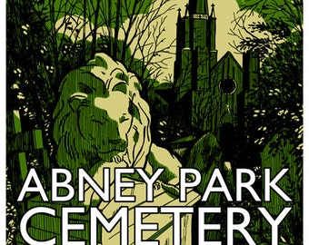 Vintage style screenprint poster - Abney Park Cemetery