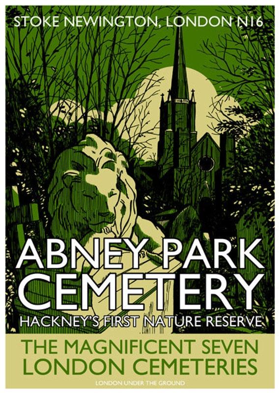 Vintage style screenprint poster - Abney Park Cemetery