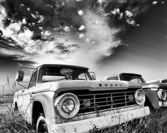 Black and White fine art print of a vintage Dodge pickup truck abandon in a farmers field