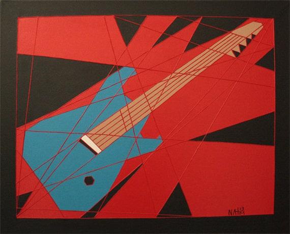 Guitar Blue, Guitar Wall Art, Original Abstract Art, 16x20 Canvas, Acrylic Painting, Wall Art Decor