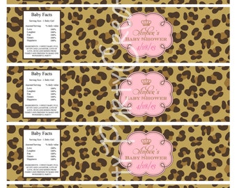 LEOPARD PRINCESS water labels - baby shower or birthday - YOU Print