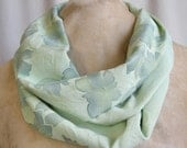 Spring green eternity scarf, vintage Japanese kimono silk with woven and dyed rose motifs.