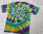 Tie dye shirt, Adult Small, Medium and XL-   Crazy spiral for Mardi Gras in purple, green and gold