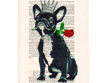 Frenchie Drawing portrait paintings Illustration Giclee Prints Posters Mixed Media Art Acrylic Painting Decor: The French bulldog king