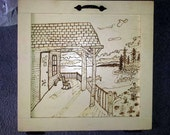 Original Drawing in Wood Burning on Vintage Kitchen Cabinet