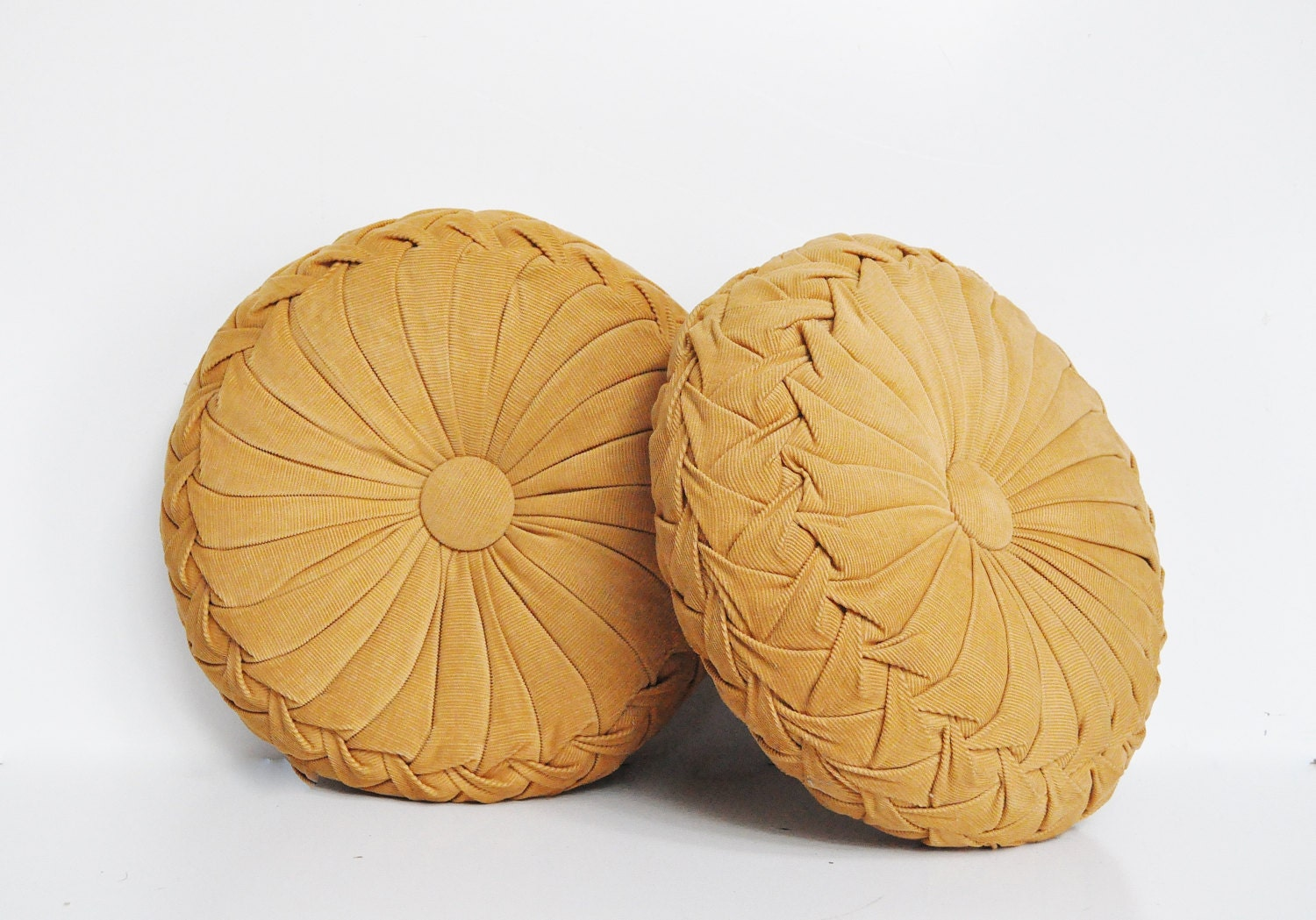 Decorative Pillows Round : Pair of Vintage Smocked Pillows Round Pillows