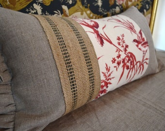 Natural Linen Lumbar Pillow with Ruffled Edge Accented with Crimson Bird and Floral Design