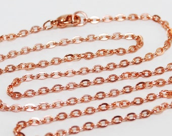 Copper Chain Necklace 14 16 18 20 22 24 26 28 30 32 34 36 Flat Cable 3.6mm Delicate to Medium Copper Chain Necklace Finished Chain