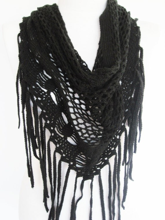 Black Knitted Infinity Scarf Black Knitted Fringed Scarf
