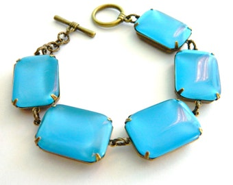 Blue Bracelet, Chunky Blue Bracelet, Retro Blue, Vintage Blue Bracelet, Retro Jewelry, Mid Century Jewelry, Bridesmaid, Tropical Blue