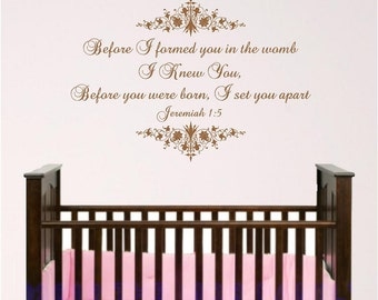 Victorian Nursery Scripture Wall Art, Jeremiah 1:5, Before you were born I knew you