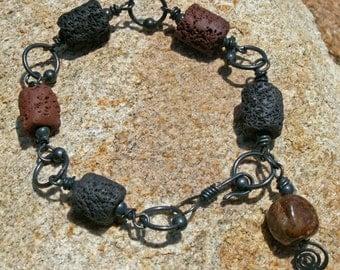 Bracelet, Copper and Silk