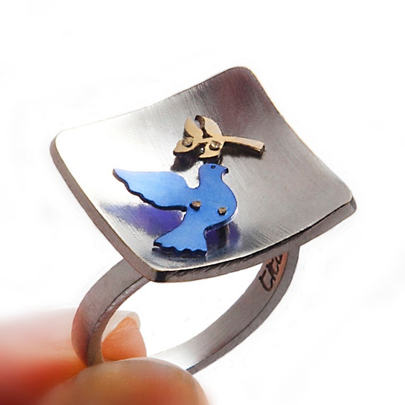 Hope ring, matte silver ring, ring with twig, tree twig, blue bird, flying bird, pigeon carrier, silver women ring, perfect gift unique