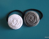 Gray and White Rolled Fabric Flower Ponytail Holders - Set of 2 - for Girl, Teen, Adult
