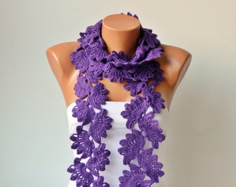Crochet scarf  - long knitting scarf -wool blend yarn