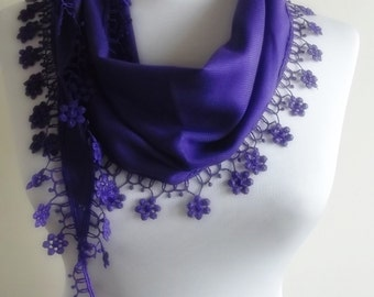 BIG DISCOUNT New Design Pashmina scarf with lace purple