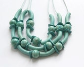 Free shipping, Mint Necklace, Mint Ceramic Necklace, Mint Beaded necklace