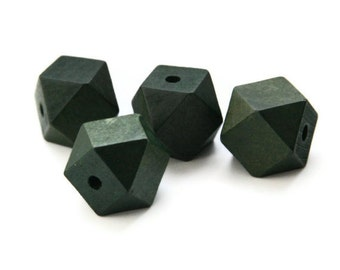 Green wooden beads, geometric wooden beads 9 pcs W 70 009