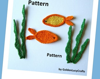 Fish and Sea Weeds Crochet PATTERN, PDF