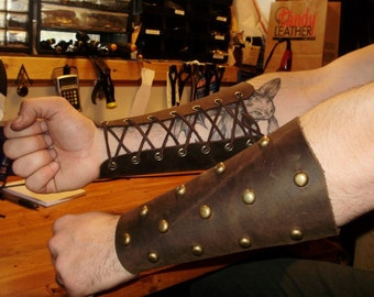 Barbarian leather bracer with studs and leather lace, viking (pair), Black or brown.