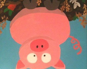 Cartoon Pig Canvas Painting for Nursery Children's Room