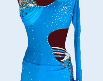 Blue  Dance  Dress with feathers  Latin  Dance  Dresses  Feathers