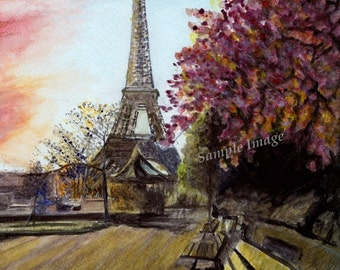 Paris  - Watercolor Painting France Landscape LARGE A4 A3 or A2 Limited Edition Art Print from RussellArt