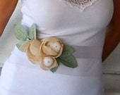 Bridal Sash, Satin Ribbon Wedding Dress Belt, Spring Wedding, Beige Powder Flower, Magnolia, Summer Romantic Wedding OOAK