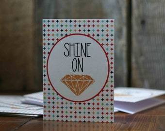 Graduation Card Inspirational Greeting Card - Motivational Typography - Shine On Diamond Stars - Orange Multicolor