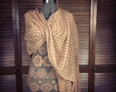 Bohemian Wrap / Gypsy Shawl / Hand-dyed Earthy Tea Stain Color / Hand Woven Shawl Scarf  / Romantic Boho Hippie  Shabby Style