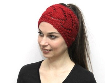 Red Headband Heartshaped Head band in Heart Pattern Head Wrap, Red Earwarmer by Solandia, love gift, romantic knitted gift