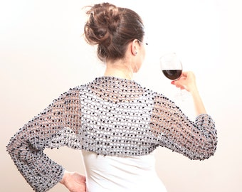 Luxury Summer Shrug Grey Bolero with Blue Sandstones by Solandia silver Jewelry clothing Christmas