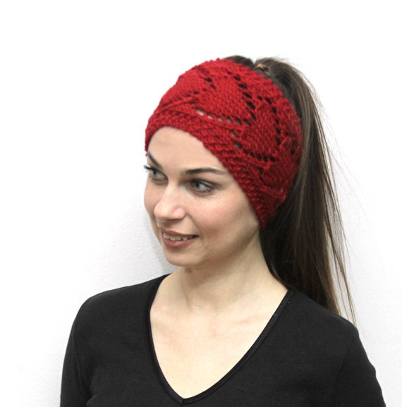 Knitted Head Wrap Pattern Free : Knitted Headband Heartshaped Knitting Red Headband in by Solandia