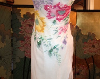 Beautiful White Chiffon Dress with Colored beaded Floral Design by Cache-REDUCED