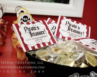 Pirate Theme  - Foldover Treat Bag Tags