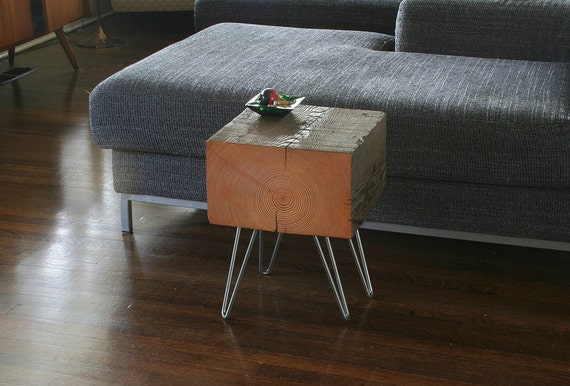 koan mini coffee table with hairpin legs reclaimed old