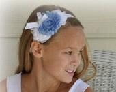 Shabby Flowers Headband Blue and White  for Girls Baby Teens Flower Girl bridesmaid