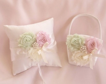 Flower Girl Basket, Basket and Pillow - Pink and Green, Rose Blossom Ivory Ring Bearer Pillow, Flower Girl Basket Vintage CUSTOM COLORS