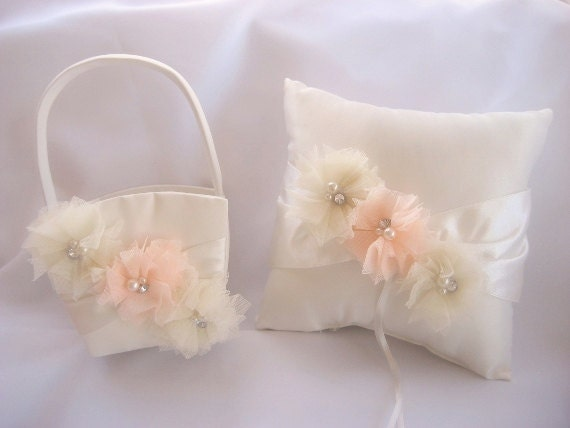 Wedding Pillow and Basket -  Peaches and Cream Ivory Ring Bearer Pillow,  Vintage CUSTOM COLORS  too Wedding Pillow
