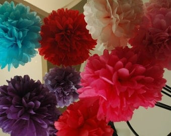 25 Tissue paper pom poms- Choose your own colors - Bachelorette, birthday, bridal shower, sweet sixteen