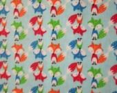 Fox Mini Foxes Blue Cotton Fabric Quarter Cut 9 1/2 x 44 Inch