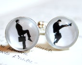 Mister Silly Silhouette Cufflinks silvercolored - funny walk british humour black and white boyfriend father husband brother jewelry man