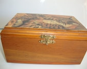 Vintage Wood  Music Box Jewelry Animal